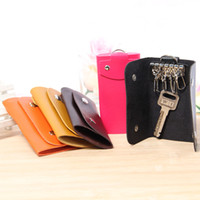 Wholesale Korean Style Key Ring - Fashion Multi-fonction PU Leather Key Wallets Korean Style Simple Portable 7 Key Chain Rings Bags Keychain Holder Case 5pcs lot QCU