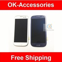 Wholesale Display S3 White - White color screen for Samsung galaxy S3 I747 T999 LCD Display + touch screen digitizer with frame 1pcs lot free shipping