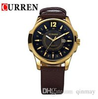 Wholesale 8123 Curren - Luxury Brand CURREN 8123 Men military watch Fashion Men wristwatches Quartz men sports watches Casual leather Men Watch Relogio
