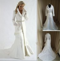 Wholesale Long Dress For Wedding Coat - Wholesale - fur A line coat strapless satin White Winter Wedding Dress Cloak Chapel Train Satin Long Sleeve wedding Coat for bride