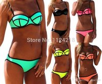 Wholesale Women S Diving Suits - 2017 NWT Women Sexy Push up Bright Diving Suit Padded Bikini Set Swimsuit Swimwear A5