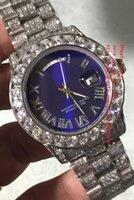 bracelets en diamant bleu achat en gros de-Dernière Haute Qualité Montre Bleu 41mm JOUR DATE Diamant Roman Dial Platine Plein Diamant Bracelet 2836 2813 Mécanique Automatique Montre Homme