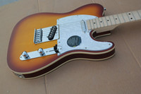 Wholesale electric guitars tele sunburst - Guitar Factory High Quality Telecaster Guitar Maple Fingerboard Sunburst tele Electric Guitar Chrome Hardware