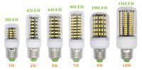 Wholesale e27 clear bulb - E27 E26 E14 GU10 G9 B22 LED Light Office Corn Bulb Super Bright 5733 SMD 7W 12W 18W 22W 25W 35W 136 LEDs Warm White Via DHL