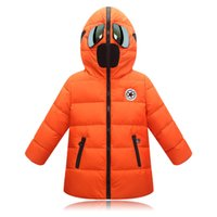 Wholesale Kids Winter Snowsuits - Cartoon Coats Boys Winter Jackets Children's Fashion Long Down Coats Clothes Kids Thickening Warm Outerwear With Glasses Toddlers Snowsuits