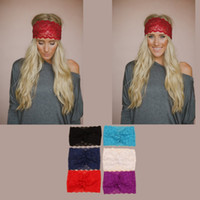 Wholesale Wide Knit Head Band - 2015Bandanas Lace Head wrap girls wide chic Fashion new turban Hair Band Headbands hair accessories for womens girls D692J