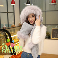 Wholesale Hooded Scarf Fur - New Arrival Women Winter Fur Plush Cashmere Hooded Cap Earflap Scarf Hat Glove Set Long Scarf Shawl Wrap Gloves Sets 200*16cm