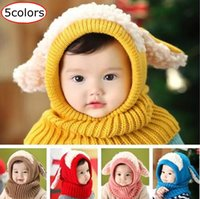 Wholesale Knitted Scarves For Infants - Hot Sale Winter Baby Hat and Scarf Joint With Crochet Knitted Caps for Infant Boys Girls Children New Fashion Kids Neck Warmer 5Colors