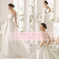 Wholesale Strapless Cutout Gowns - 2015 Gorgeous Detachable Train Royal Satin Wedding Dresses Spring Sexy Strapless Cutout Backless Pleats Bow Glitz Garden Bridal Gowns 8C2B1