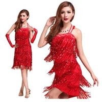 Wholesale Sequin Fringed Dress Costume - 2015 Sexy Bodycon Latin Dance Costumes Evening Dresses Fringed Tassel Ballroom Tango Chacha Party Clubwear
