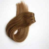Wholesale golden blonde hair extensions - Top quality 100% human hair wefts 100g 20inch #14 Dark Golden Blonde Straight hair bundles tangle free Brazilian Indian hair extensions