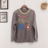 Wholesale Loose Pearl Natural - Luxury Pearl Beading Women Sweaters 2017 Brand Designer Autumn Winter Fashion Round Neck Embroidered Pullovers Casual Loose Jumpers Tops