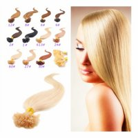 "Wholesale Color Tipped Hair Styles - 2015 New Style! 18""-28""Long Nail Hair 100g Natural European Female Straight Hair U Tip Hair Extensions Blonde Color In Stock"