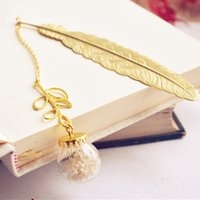 Wholesale Note Book Flower - Retro Vintage Book Mark Bookmark design metal bookmarks Notes Memo school souvenir cute unisex gift gold feather ture flowers XM
