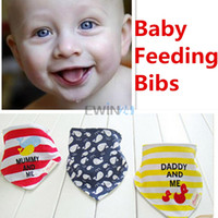 Wholesale Double Side Bib - Hot Selling! 3PCS Pack Baby Infant Feeding Bib Embroidery Snap Closure Assorted Designs Colors Double Sided