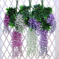künstliche reben großhandel-Hohe qualität 101 cm Lange Künstliche Seide Glyzinien Gefälschte Garten Hochzeit Hängen Blume Pflanze Rebe Dekoration hochzeit liefert HHT2