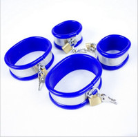 Wholesale Pink Hand Cuffs - Blue Pink Color choose Hand Cuffs with lock,fetish,bracelet,Female anklet, sex product for couples,sex games,sex shop,sexo