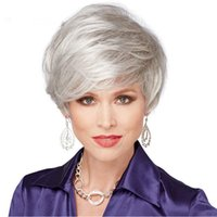 Wholesale Party Short Hair - Top Fashion Sliver Grey Synthetic Hair Wigs,12'' Short Wavy Heat Resistant Hair Periwigs,New Arrival Party Wigs for African American Women