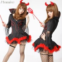 Wholesale Devil Girls Uniform - Wholesale-New Arrival Halloween Costumes for Women Cosplay little devil costume RPG party sexy girl dress sweet uniforms nightclub clothes