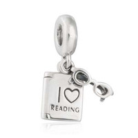 I Love Reading Charms Pendants Fit Pandora Bracelet 925 Sterling Silver Dangle Glasses Book Бусины DIY Shealia Jewelry