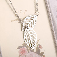 Wholesale Two Chains Circle Pendants - 2016 New Gold And Sliver Two Leaf Pendants Necklace Chain multi layer statement necklaces Woman Gift SALE ZJ-0903227
