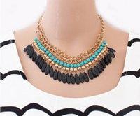 Wholesale Gold Tassel Necklace Sale - 2015 Bohemian Retro Vintage Fashion Lots layered Gem Beads Tassel Bib Choker Gold Necklace Women Female hot Sale