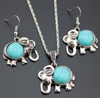 Wholesale Turquoise Elephant Necklaces - European and American baby Elephants Jewelry Sets 2-piece Turquoise Green Stone Drop Earrings and Long Necklace 5sets lot