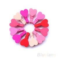 Wholesale Vinyl Paper Clips - 12Pc BAG Mini Heart Love Wooden Clothes Photo Paper Peg Pin Clothespin Craft Clips 01TG 3TPC