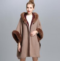 Wholesale Gray Fur Shawl - New Autumn Winter Women's Loose Hooded Poncho Wool Blends Faux Fur Collar Cuff Cardigan Shawl Cape Cloak Outwear Coat C3196