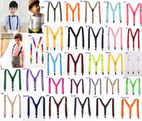 Wholesale Boys White Suspenders - 20pcs New Children Kids Boy Girls Clip-on Y Back Elastic Suspenders Adjustable Braces Christmas gift full color