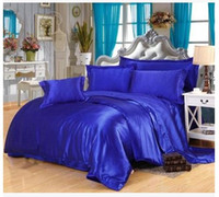 Wholesale Washed Silk Quilt - Solid Royal blue Silk bedding set satin Super king size queen full twin quilt duvet cover fitted bed sheet bedspread linen 5pcs