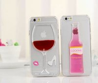 Wholesale Beer Hard Case Iphone - High Quality PC Liquid transparent clear red wine beer case for iphone 6 5s 5 4s 4 Cocktail hard back Cover for iphone 6 Plus