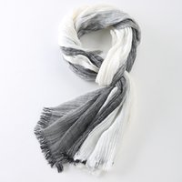 Wholesale Gray Plaid Scarf - Wholesale- 75*205cm 2016 Wholesale Brand Winter Scarf Men Warm Soft Tassel Bufandas Cachecol Gray Plaid Woven Wrinkled Cotton Men Scarves