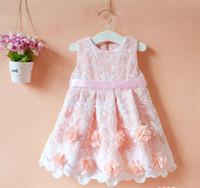 Wholesale New Fashion 3d Short Dresses - New Original Children's Dresses Girls Fashion Dress Cute Vest Dress Kids 3D Flower Dress 5 p l