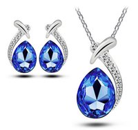 Wholesale Earings Pendants - Bridesmaid Jewelry Set for Wedding Earings Wholesale Sawrovski Australian Crystal Jewellery Silver Necklaces Pendants Party Jewelry Sets
