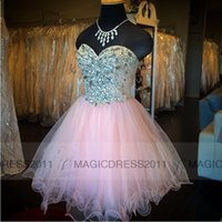 Wholesale Champagne Cocktail Dresses Sweetheart - Lovely Pink Homecoming Dresses 2015 Custom Made A-Line Sweetheart rystal Beaded Short Piping Prom Dresses Party Cocktail Graduation Dress