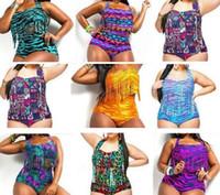 Wholesale Tiger Print Panties - Aztec Tiger Snake Plus Size High Waist printed Bikini Chubby Women Sexy Fringe Tassel Swimsuit Push Up Padded Bra+panties Swimwear Bath suit