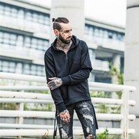 Wholesale Skateboard Blanks - Side Ribbon Unlock Hem Streetwear Men Hoodies 2017 New Fashion Fake Blank Hip Hop Swag Kanye Zipper Skateboard Hooded Sweatshirt