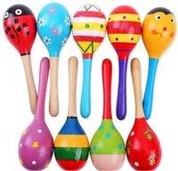 brinquedo da música dos sinos do bebê venda por atacado-BABY Orff instrumentos de madeira maracas sino terno para o Bebê educação precoce de madeira martelo trompete música areia brinquedos