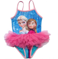 Wholesale Princess Swim Wear - 2014 Frozen One Piece Swimwear Elsa Anna Princess Girls Frozen SwimSuit Swim Wear One Piece Swim Bodysuit Tutu dress slip dress