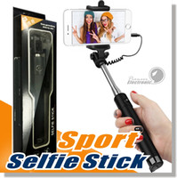 Wholesale Wire Recorders - Mini Selfie Stick Selfy Handheld Extended WIRED Monopod Portrait Taker and Video Recorder UNIVERSAL FIT with IOS and Android Smartphones
