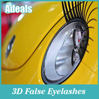 Wholesale Car Eyelash Decals - 1pair 29x17cm 3D Charming Black False Eyelashes Fake Eye Lash Sticker Car Headlight Decoration Funny Decal