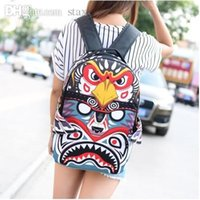 Grossiste-NOUVEAU 2015 femmes de mode cartoons graffiti aigle cerf-volants Sac à dos Sac à bandoulière ordinateur portable femmes hommes Bone fangs travel shoulder bag