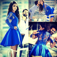 Wholesale long royal blue taffeta dresses for sale - Group buy 2015 Royal Blue Homecoming Dresses Short Sheer Long Sleeves Prom Dresses Lace Appliqued Mini Cocktail Party Gowns
