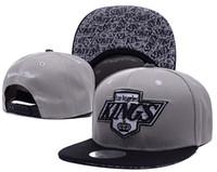 Wholesale Leather Logo Sports Hats Caps - top Sale Men's Los Angeles Kings Snapback Hat Team Logo Embroidery Sports Adjustable LA Hockey Caps Vintage Leather Visor Strap back Hat