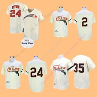 Wholesale Fox Cream - Nellie Fox Jimmy Wynn Joe Morgan Jersey Throwback Home Away Cream Cooperstown Houston Colts Baseball Jerseys