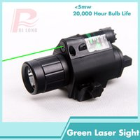 Wholesale Tactical Green Laser Gun Sights - New Rifle Tactical LED Flashlight Green Dot Laser Sight Combo 200LM 650nm For Pistol Guns Glock HT8-0001G