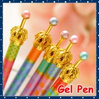 [FORREST SHOP] Nette koreanische Briefpapier 0.5mm Black Ink Kawaii Pens für Kinder / Neuheit Gold Crown-Gel-Feder (36 PC / Los) U7035
