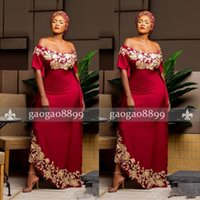 uzun kollu seksi kırmızı elbise toptan satış-Güney Afrika Siyah Kız Gelinlik Modelleri Koyu Kırmızı Aso Ebi Omuz Kapalı resmi Elbiseler Akşam Parti Giymek Altın Aplikler Kısa Kollu Uzun