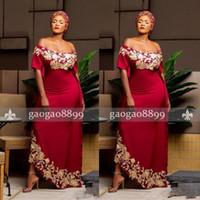 longo vestido vermelho escuro venda por atacado-Sul Africano Preto Menina Vestidos de Baile Vermelho Escuro Aso Ebi Fora do Ombro Vestidos Formais Evening Party Desgaste Apliques de Ouro Mangas Curtas Longo